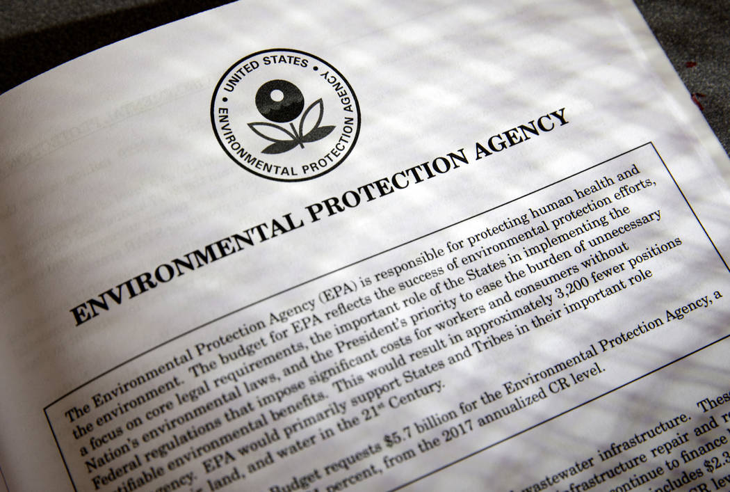 Proposals for the Environmental Protection Agency in President Donald Trump's first budget are displayed at the Government Printing Office in Washington, March 16, 2017. (J. Scott Applewhite/AP)