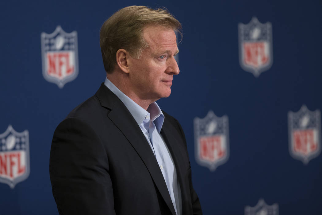 NFL Commissioner Roger Goodell during a press conference in the NFL Annual Meeting at the Arizona Biltmore Hotel on Tuesday, March 28, 2017, in Phoenix, Ariz. (Erik Verduzco/Las Vegas Review-Journ ...