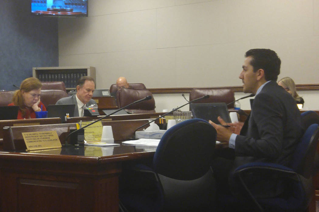 Assemblyman Nelson Araujo, D-Las Vegas, talks on Tuesday, March 28, 2017, in Carson City, to the Assembly Legislative Operations and Elections Committee about Assembly Bill 293, which would allow  ...
