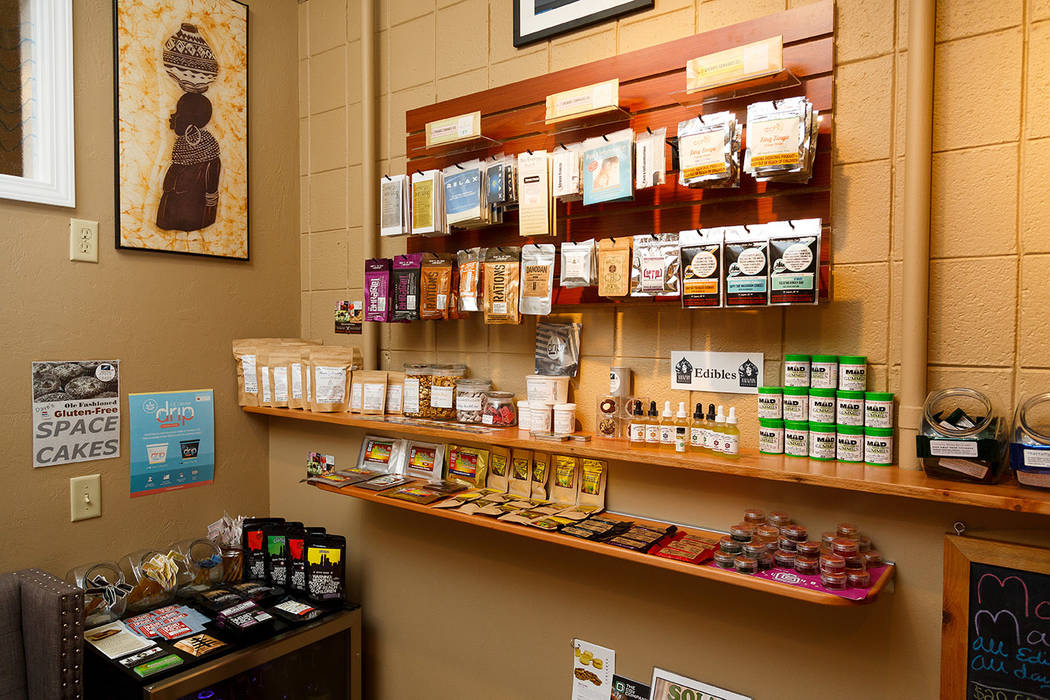 Different types of edibles are seen on display at Amazon Organics, a pot dispensary in Eugene, Ore., on Monday, Sept. 28, 2015. (AP Photo/Ryan Kang)