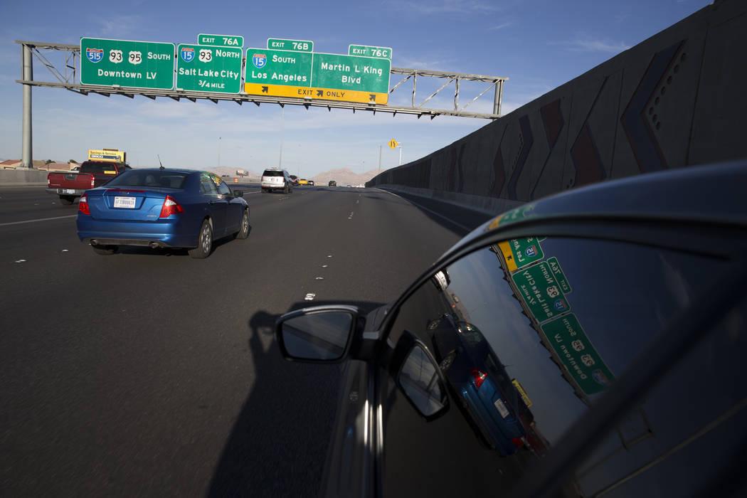 Signs on U.S. 95 Highway near the Interstate 15 interchange on Wednesday, March 15, 2017, in Las Vegas.  (Erik Verduzco/Las Vegas Review-Journal) @Erik_Verduzco