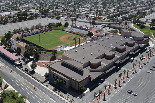 Cashman Center, shown in this aerial photo taken on Monday, Sept. 26, 2016, is the site of several community events and exhibits that will be without a venue if plans proceed to mothball the facil ...