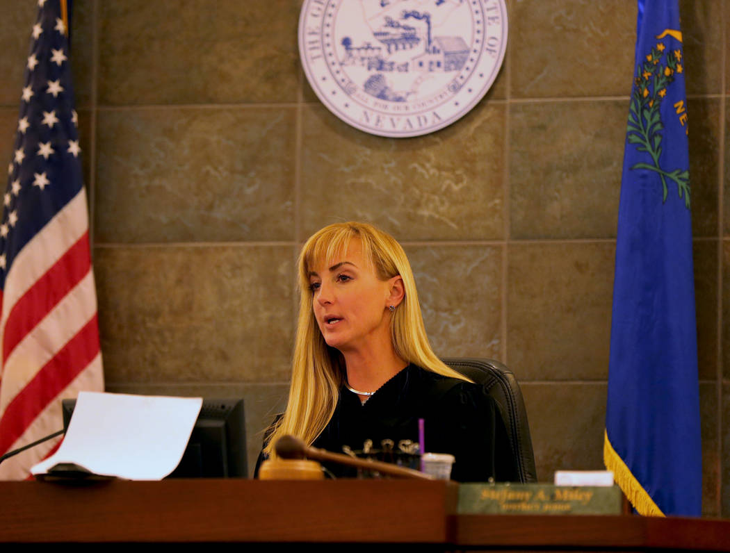 Judge Stefany A. Miller reads the jury instructions before closing statements at the Regional Justice Center in Las Vegas, Thursday, March 30, 2017. (Gabriella Benavidez/Las Vegas Review-Journal)  ...