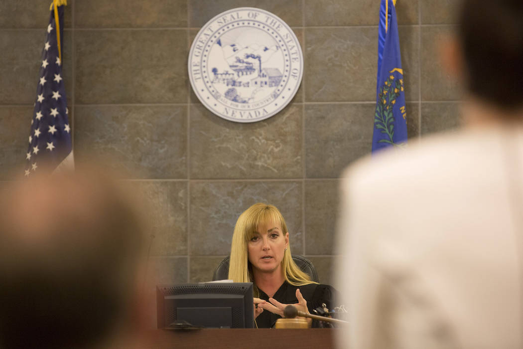The prosecutors address Judge Stefany Miley at the Regional Justice Center on Wednesday, March 29, 2017, in Las Vegas. (Bridget Bennett/Las Vegas Review-Journal) @bridgetkbennett