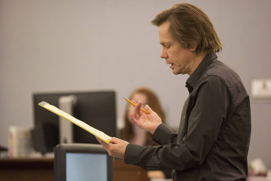 Defendant Melvyn Sprowson, who is representing himself, addresses Judge Stefany Miley at the Regional Justice Center on Wednesday, March 29, 2017, in Las Vegas. (Bridget Bennett/Las Vegas Review-J ...