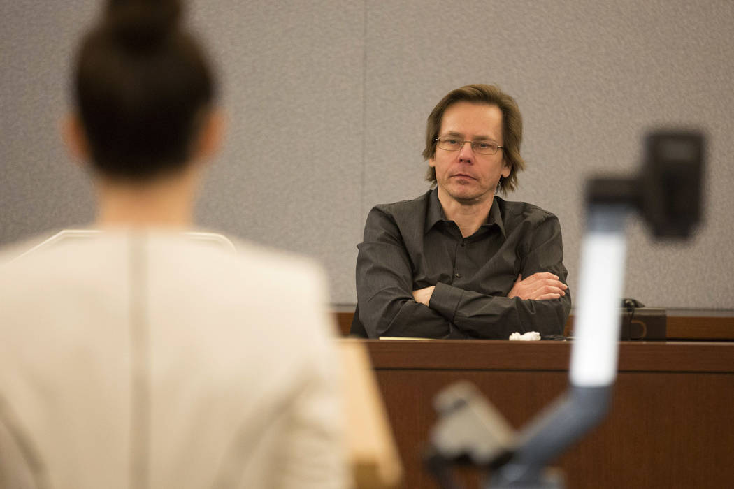 Prosecutor Jacqueline Bluth, left, cross-examines defendant Melvyn Sprowson at the Regional Justice Center on Wednesday, March 29, 2017, in Las Vegas. (Bridget Bennett/Las Vegas Review-Journal) @b ...