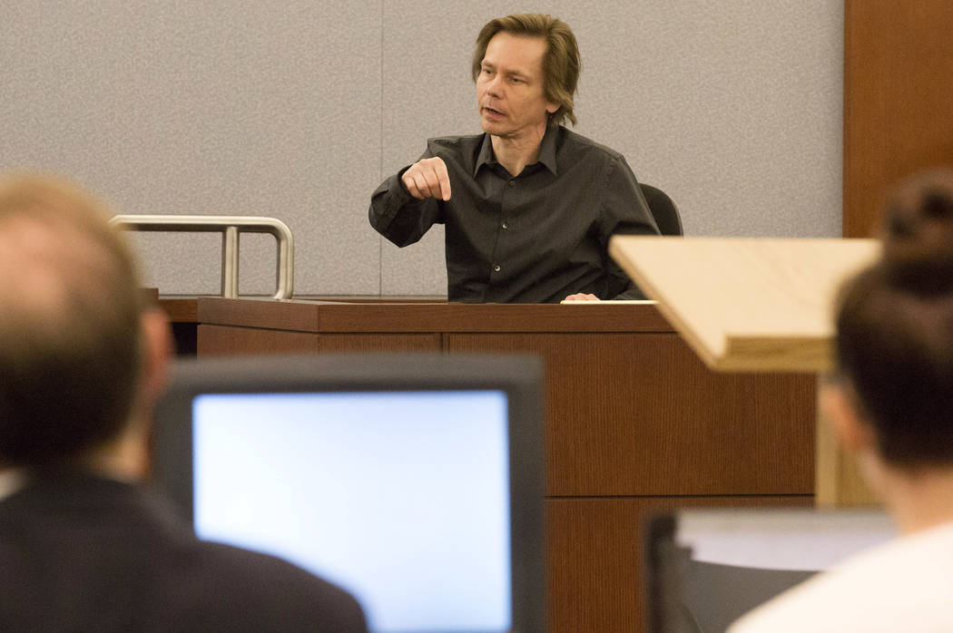 Defendant Melvyn Sprowson, who is representing himself, makes a few last comments after cross-examination at the Regional Justice Center on Wednesday, March 29, 2017, in Las Vegas. (Bridget Bennet ...