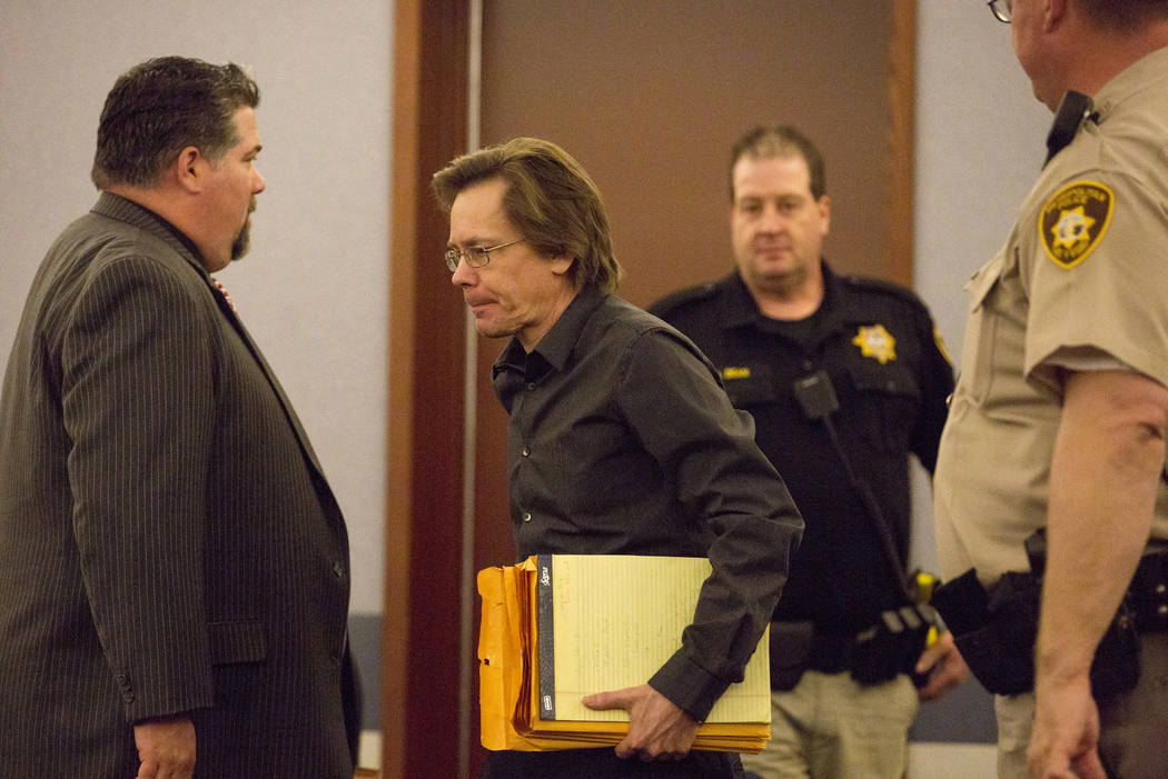 Defendant Melvyn Sprowson, who is representing himself, enters the courtroom at the Regional Justice Center on Wednesday, March 29, 2017, in Las Vegas. (Bridget Bennett/Las Vegas Review-Journal) @ ...