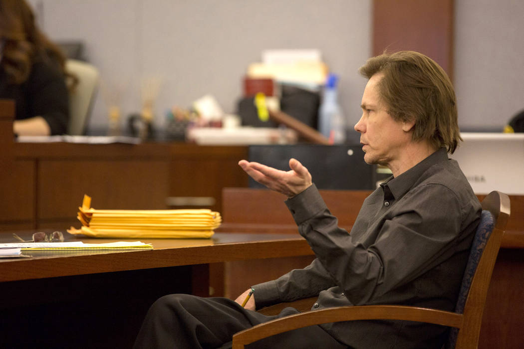 Defendant Melvyn Sprowson, who is representing himself, speaks with Judge Stefany Miley at the Regional Justice Center on Wednesday, March 29, 2017, in Las Vegas. (Bridget Bennett/Las Vegas Review ...