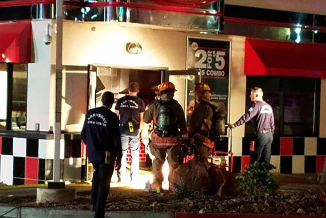 Nobody was hurt after a grill caught fire at Checkers, 1900 E. Charleston Blvd., about 1 a.m. Public information officer Tim Szymanski said a stove's gas line was hit while it was being cleaned.