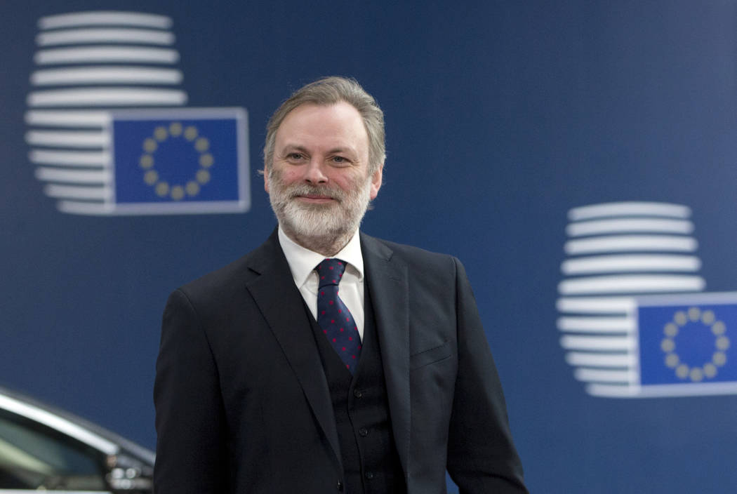 Tim Barrow, the UK Permanent Representative to the EU, arrives at the Europa building in Brussels on Wednesday, March 29, 2017. British Prime Minister Theresa May has signed a letter invoking Arti ...