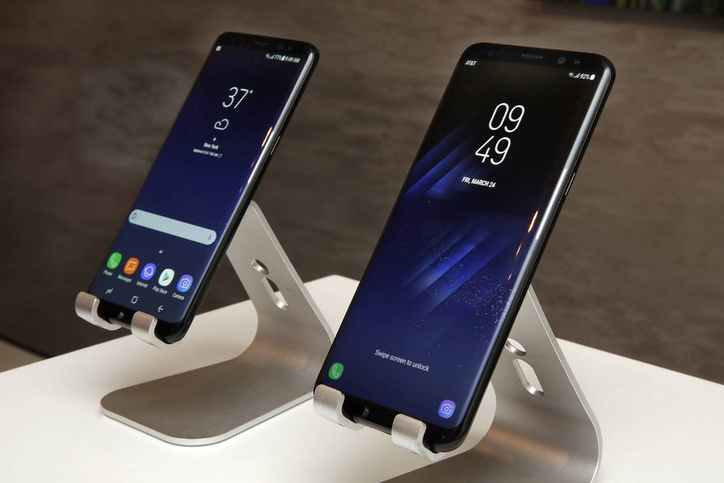 The new Samsung Galaxy S8, left, and Galaxy S8 Plus mobile phones are displayed in New York on Friday, March 24, 2017. (Richard Drew/AP)