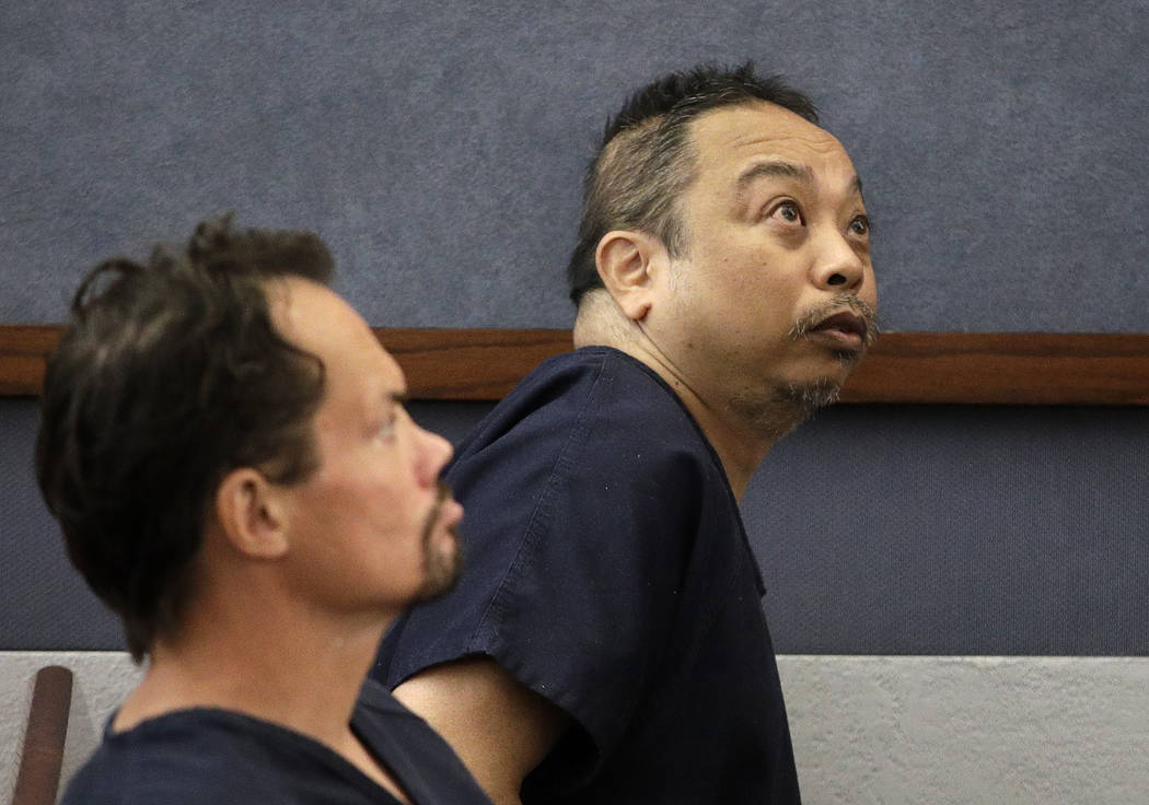 Rolando Cardenas, right, makes an initial court appearance Wednesday, March 29, 2017, in Las Vegas. (John Locher/AP)