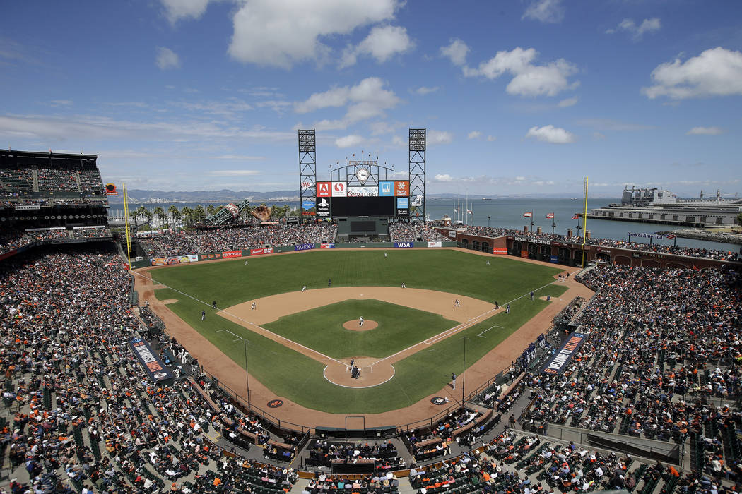 AT&T Park is seen from an overhead view as the San Francisco Giants play the Milwaukee Brewers during a baseball game Wednesday, June 15, 2016, in San Francisco. (Marcio Jose Sanchez/AP)