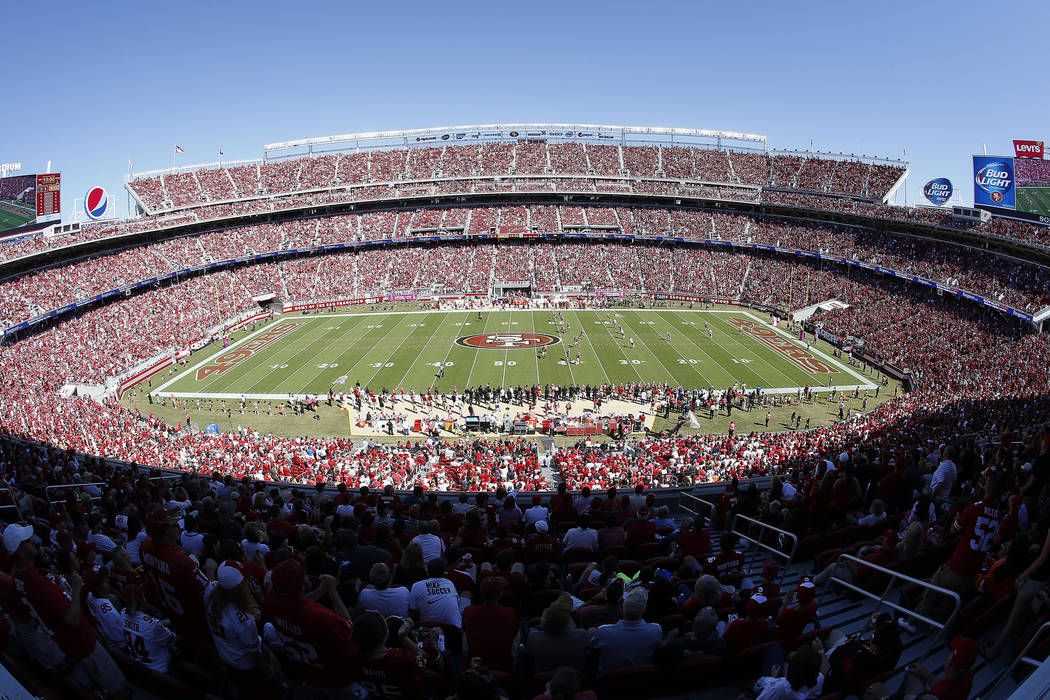 This Oct. 5, 2014, file photo shows a general view of Levi's Stadium during the first quarter of an NFL football game between the San Francisco 49ers and the Kansas City Chiefs in Santa Clara, Cal ...