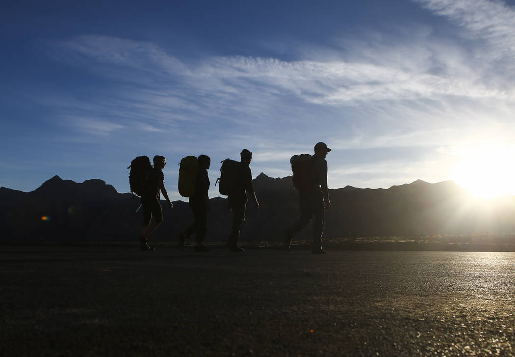 Hikers at Red Rock Canyon National Conservation Area outside of Las Vegas on Wednesday, March 29, 2017. (Chase Stevens/Las Vegas Review-Journal) @csstevensphoto