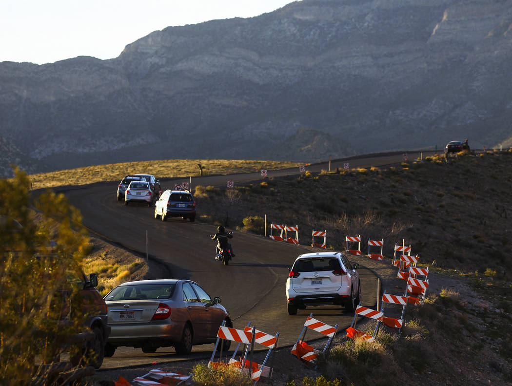 People make their way along the 13-mile scenic drive at Red Rock Canyon National Conservation Area outside of Las Vegas on Wednesday, March 29, 2017. (Chase Stevens/Las Vegas Review-Journal) @csst ...