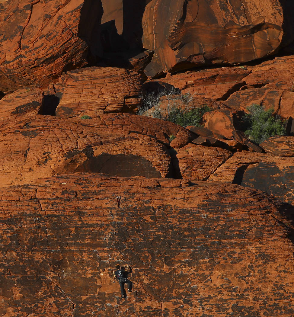 A rock climber at the Calico Hills area of Red Rock Canyon National Conservation Area outside of Las Vegas on Wednesday, March 29, 2017. (Chase Stevens/Las Vegas Review-Journal) @csstevensphoto
