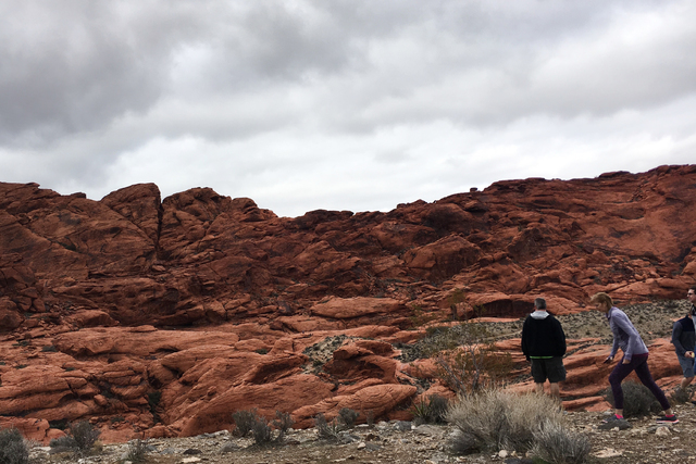 Visitors explore a portion of Red Rock Canyon's scenic loop on Sunday, Feb. 19, 2017. (Ashley Casper/Las Vegas Review-Journal)