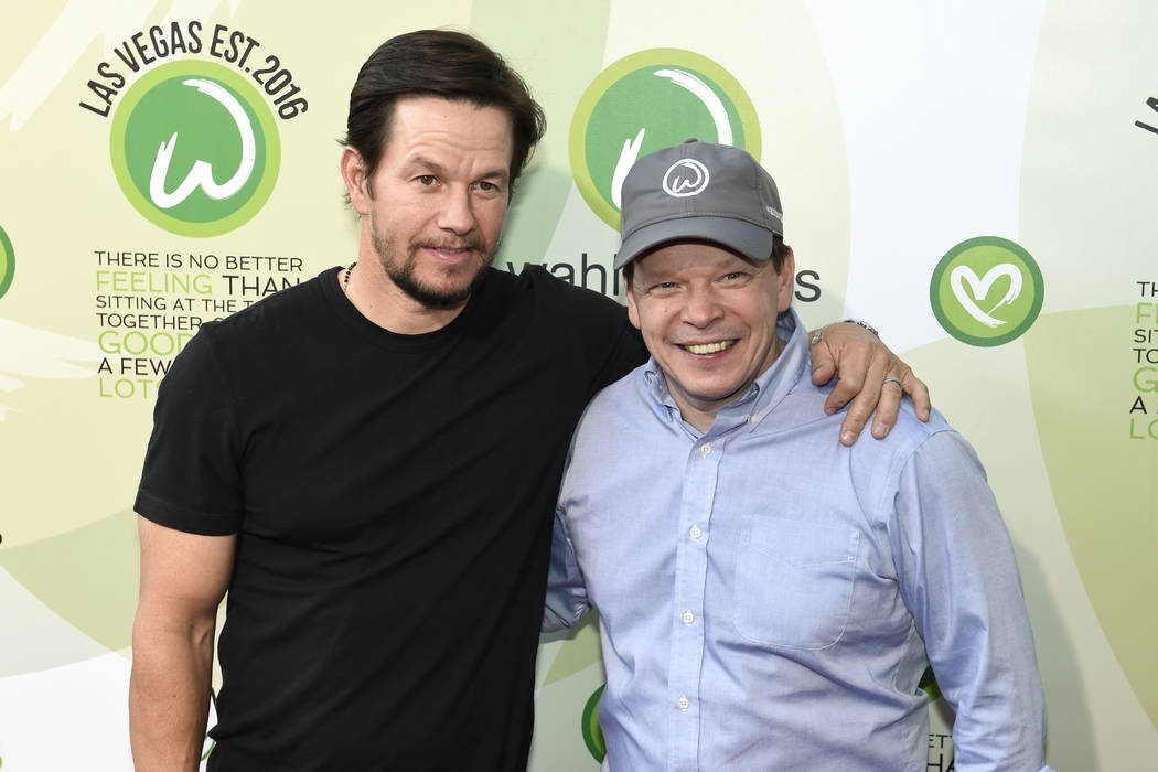 Actor Mark Wahlberg and brother executive chef Paul Wahlberg arrive at a VIP event at Wahlburgers Las Vegas in the Grand Bazaar Shops at Bally's Tuesday, March 28, 2017. Sam Morris/Las Vegas News  ...