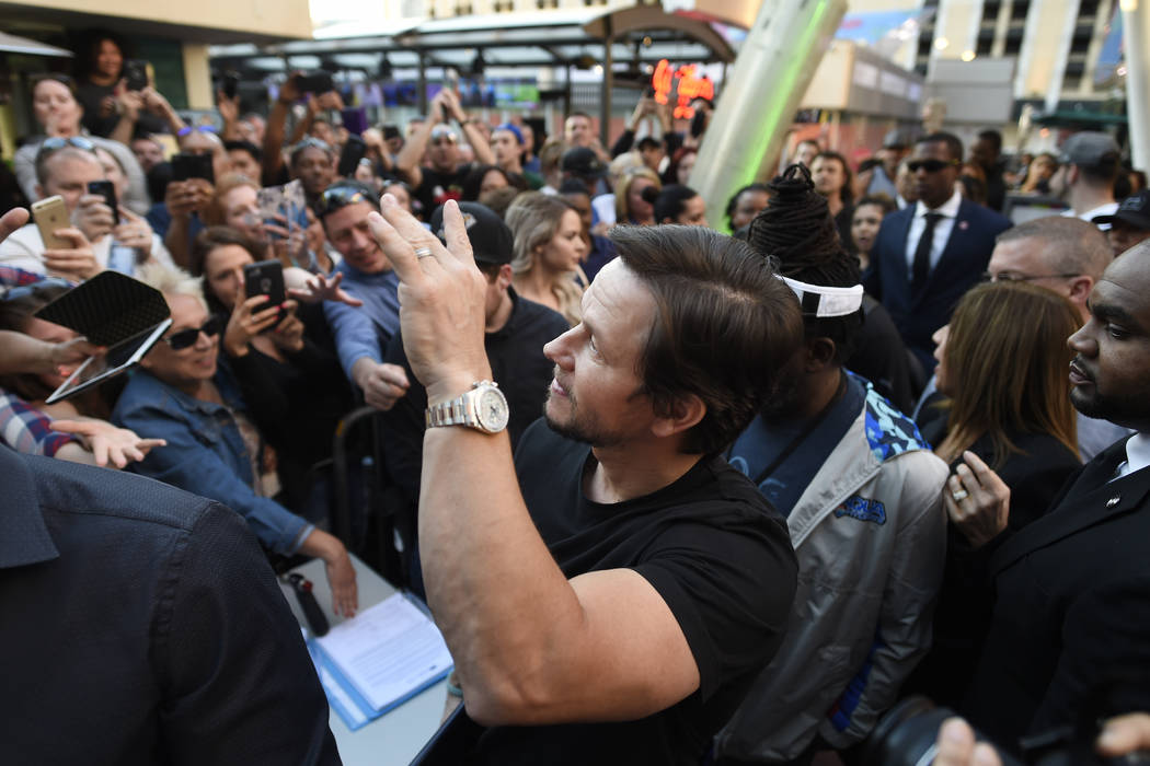 Mark Wahlberg waves to fans as he arrives at a VIP event at Wahlburgers Las Vegas in the Grand Bazaar Shops at Bally's Tuesday, March 28, 2017. Sam Morris/Las Vegas News Bureau