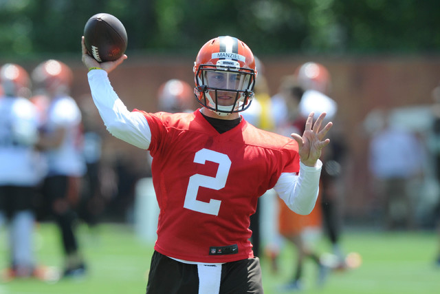 Jun 16, 2015; Berea, OH, USA; Cleveland Browns quarterback Johnny Manziel (2) throws a pass during minicamp at the Cleveland Browns practice facility. (Ken Blaze/USA Today Sports)