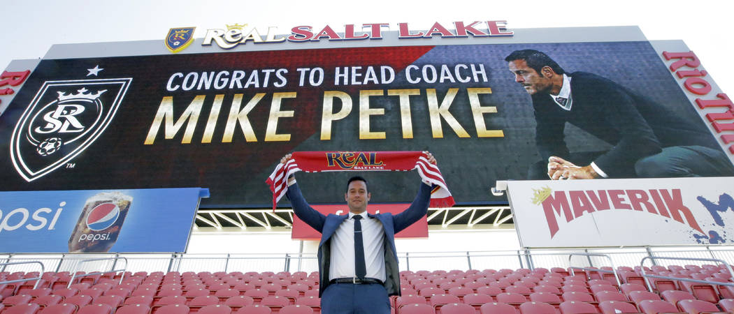Real Salt Lake head coach Mike Petke after being announced as the MLS soccer club's new head coach Wednesday, March 29, 2017, in Sandy, Utah. (Rick Bowmer/AP)