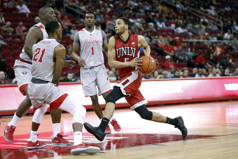 UNLV Rebels guard Jalen Poyser (5) drives to the hoop against the Fresno State Bulldogs in the first half at the Save Mart Center. (Cary Edmondson-USA TODAY Sports)