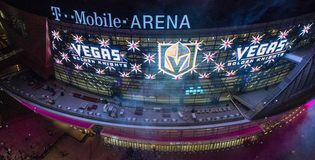 The Vegas Golden Knights team name and logo unveiling Tuesday, Nov. 22, 2016, outside T-Mobile Arena in Las Vegas. (Tom Donoghue)