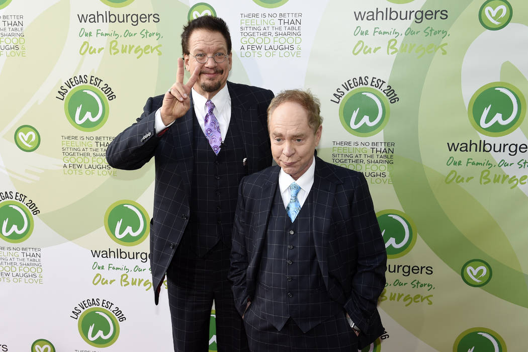 Penn Jillette and Teller arrive at a VIP event at Wahlburgers Las Vegas in the Grand Bazaar Shops at Bally's Tuesday, March 28, 2017. CREDIT: Sam Morris/Las Vegas News Bureau