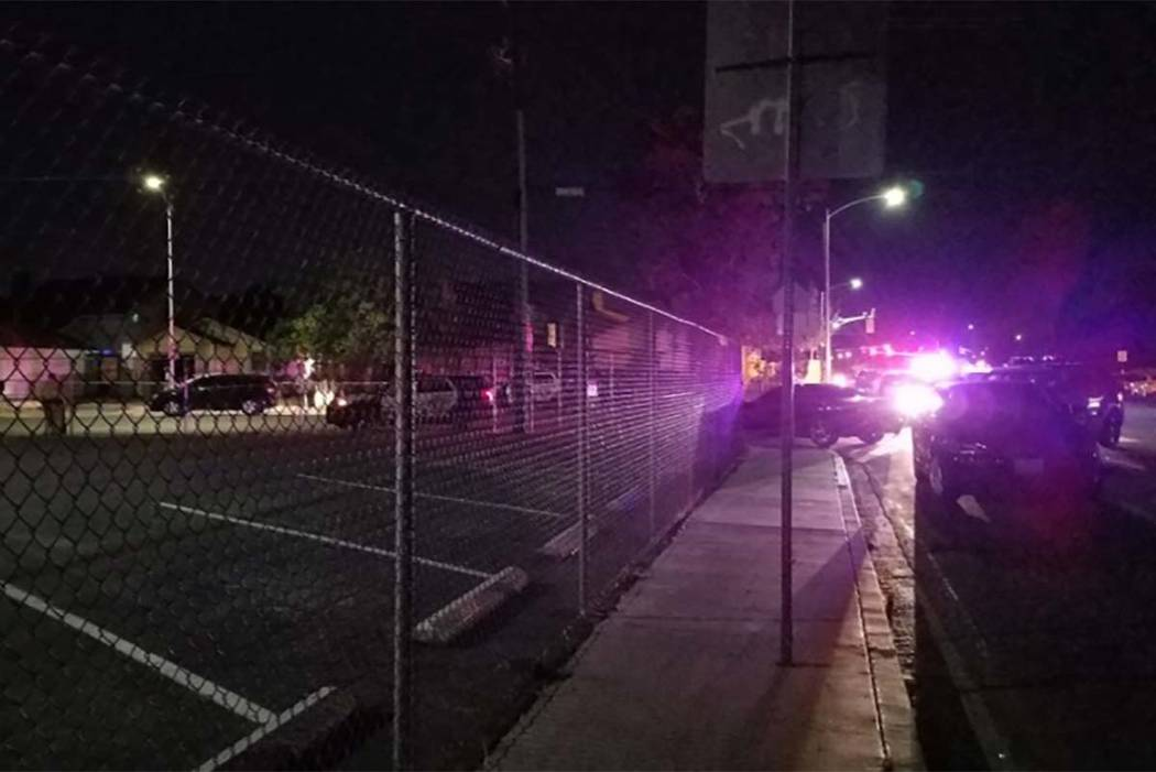 Las Vegas police investigate a man's death at 4656 Van Buren Ave., near Owens Avenue and Lamb Boulevard, on Wednesday night. (Mike Shoro/Las Vegas Review-Journal)