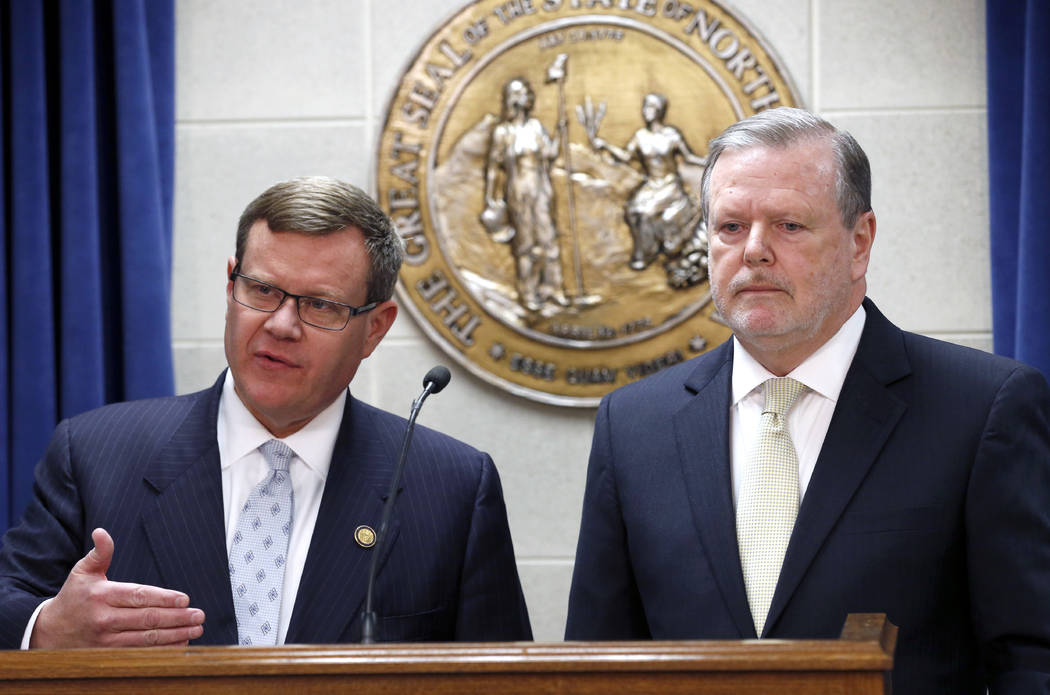 In this Tuesday, March 28, 2017 file photo, Republican leaders Rep. Tim Moore, left, and Sen. Phil Berger, hold a news conference in Raleigh, N.C. North Carolina Republican lawmakers said Wednesda ...