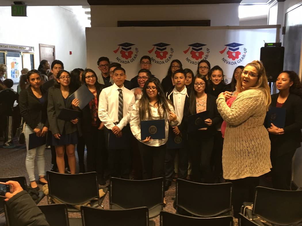 Reno area students with the GEAR UP program visited the Legislature in Carson City on Thursday, March 30, 2017. (Sean Whaley/Las Vegas Review-Journal)