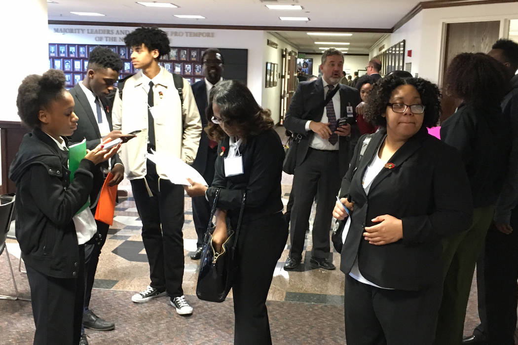 Clark County students visiting the Legislature get oriented after an overnight bus ride to Carson City on Thursday, March 30, 2017. (Sean Whaley/Las Vegas Review-Journal)