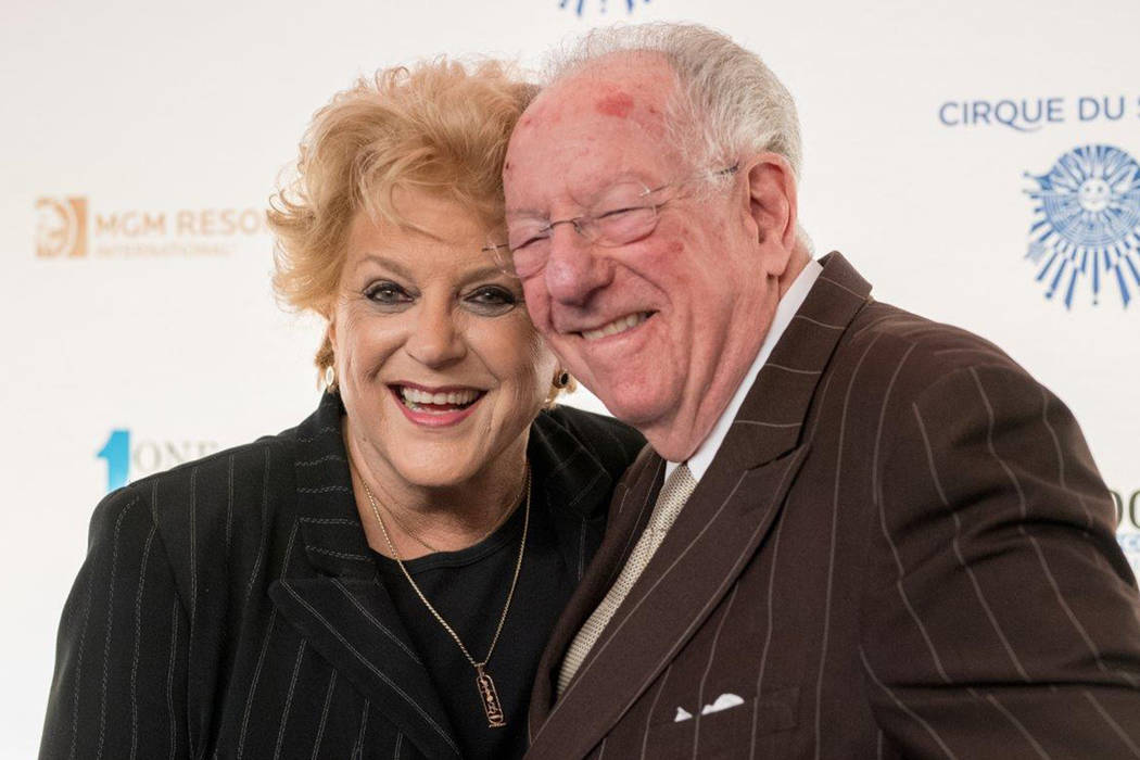 "Mayor Carolyn Goodman and former Mayor Oscar Goodman arrive on the blue carpet for the fifth-annual ""One Night for One Drop"" by Cirque du Soleil at ""Zumanity"" Theater at New York-New York on Frida ..."