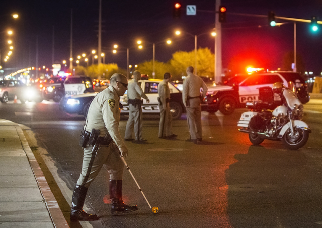 Las Vegas Metro investigate a car on pedestrian collision at West Spring Mountain Road and South Durango Drive on Sunday, Nov. 20, 2016, in Las Vegas. Benjamin Hager/Las Vegas Review-Journal