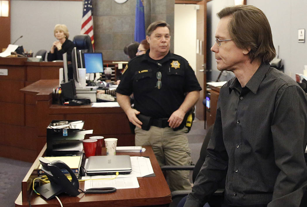 Melvyn Sprowson, who acted as his own attorney in his child pornography trial, enters the courtroom at the Regional Justice Center on Friday, March 31 2017, in Las Vegas. A jury found Sprowson gui ...