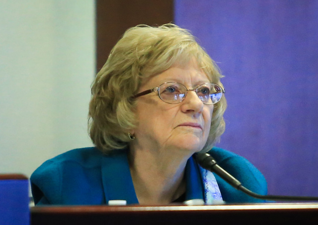 State Sen. Joyce Woodhouse participates in a legislative committee meeting at the Grant Sawyer State Office Building on Friday, Jan. 27, 2017, in Las Vegas. (Brett Le Blanc Las Vegas Review-Journa ...