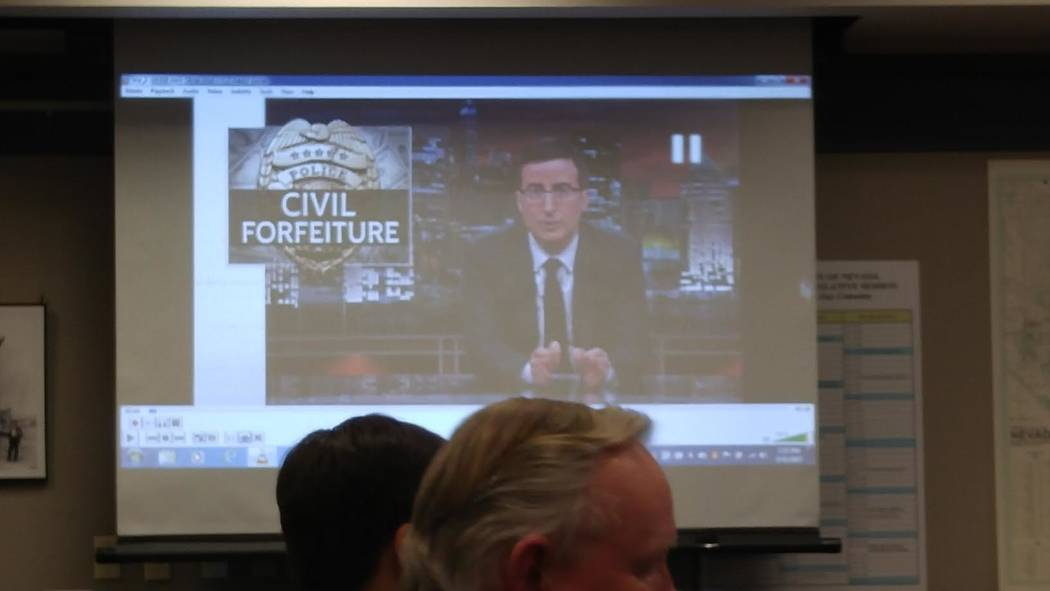 Sen. Don Gustavson, R-Sparks, plays a clip with comedian and television host John Oliver discussing a civil forfeiture case in Nevada. It was part of Gustavson's presentation on Senate Bill 358.   ...