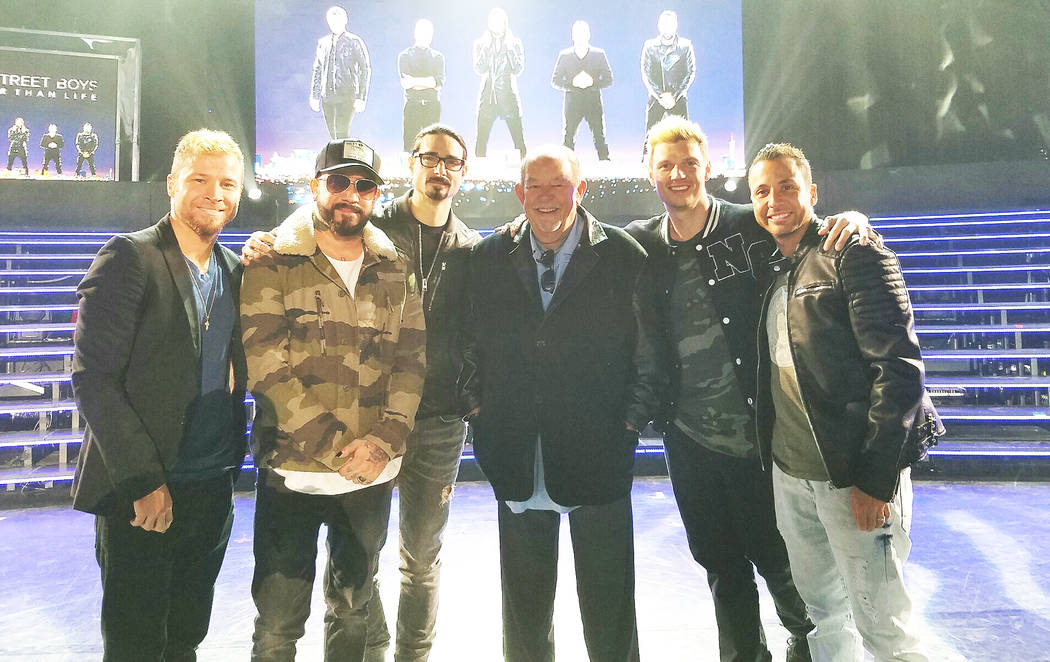 Robin Leach, third from right, and The Backstreet Boys at Axis at Planet Hollywood on Thursday, March 2, 2017, in Las Vegas. (TVT)