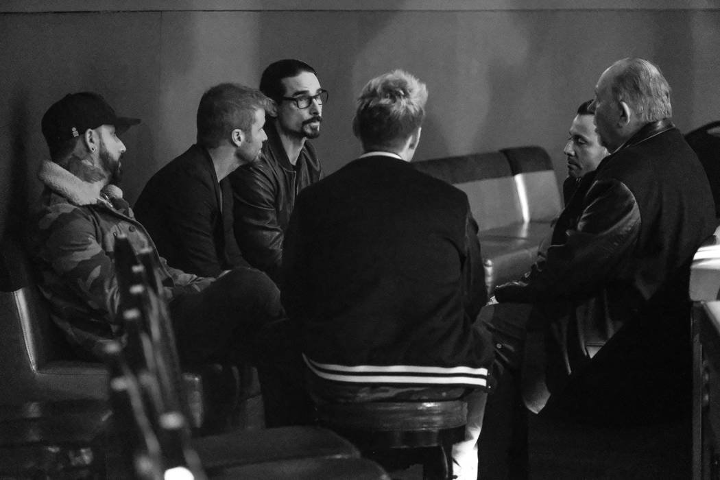 Robin Leach interviews The Backstreet Boys at Axis at Planet Hollywood on Thursday, March 2, 2017, in Las Vegas. (Justin Segura)