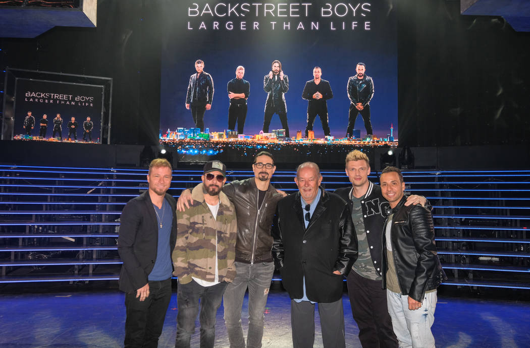 Robin Leach, third from right, interviews The Backstreet Boys at Axis at Planet Hollywood on Thursday, March 2, 2017, in Las Vegas. (Justin Segura)