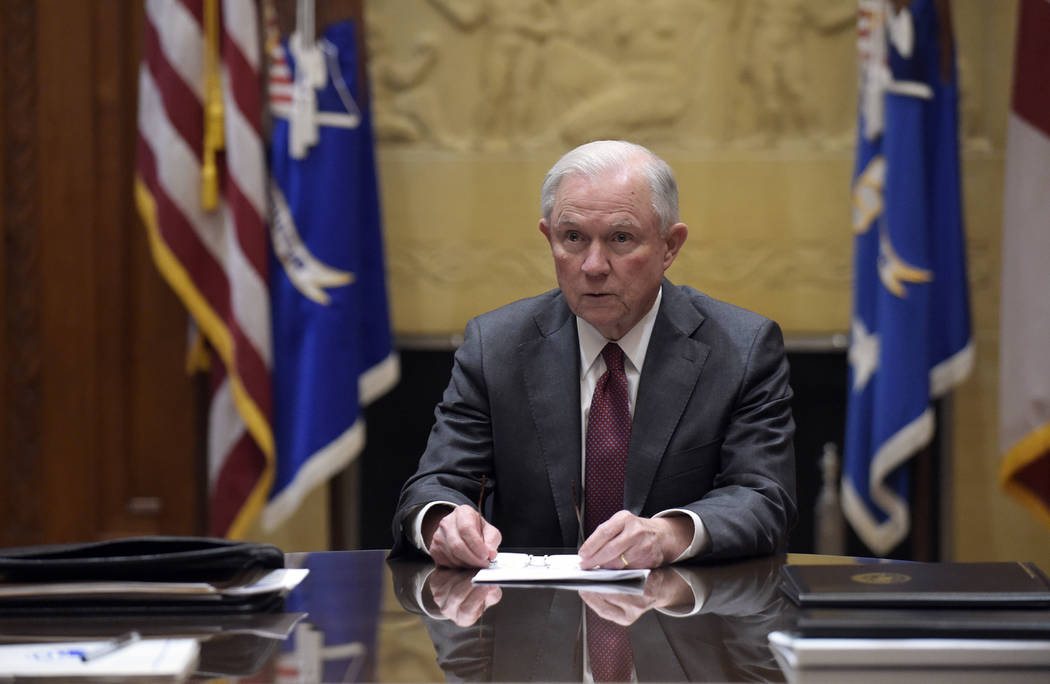 Attorney General Jeff Sessions holds a meeting Feb. 9, 2017, with the heads of federal law enforcement components at the Department of Justice in Washington. (Susan Walsh/Pool/File, AP)