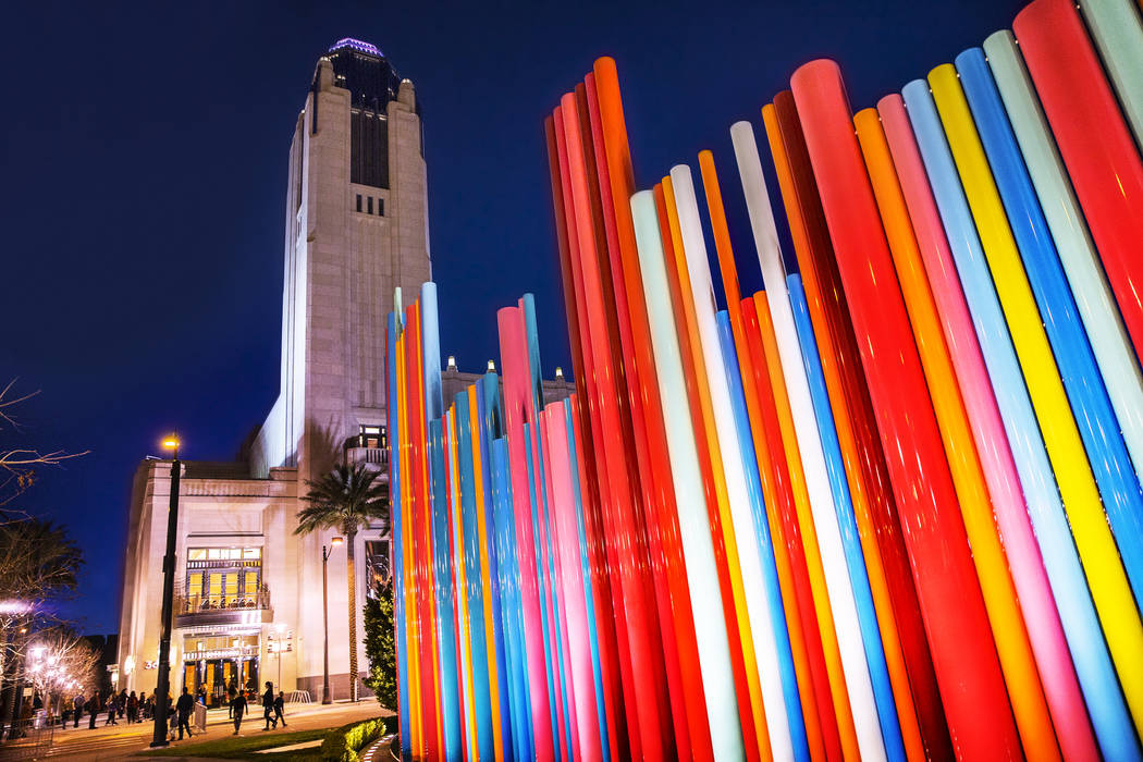 The Smith Center for the Performing Arts at dusk on Wednesday, March, 1, 2017, in Downtown Las Vegas. (Benjamin Hager/Las Vegas Review-Journal)