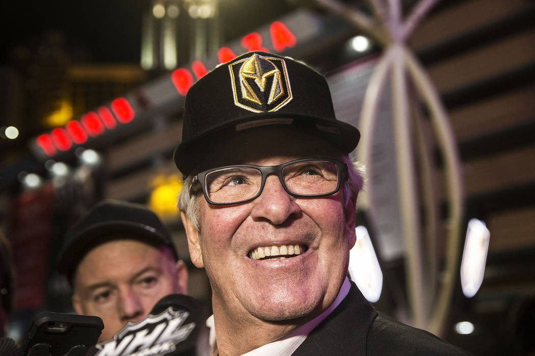 Golden Knights owner Bill Foley takes questions from the media at the conclusion of a ceremony to unveil the Las Vegas' NHL expansion franchise's official team nickname, logos and colors on Tuesda ...