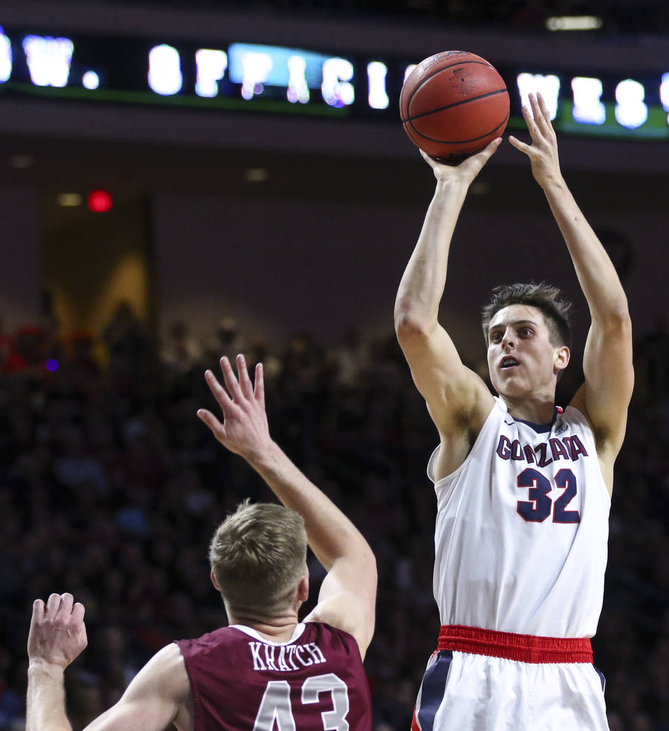 Gonzaga forward Zach Collins (32) shoots over Santa Clara forward Nate Kratch (43) during a West Coast Conference basketball tournament game at the Orleans Arena in Las Vegas on Monday, March 6, 2 ...