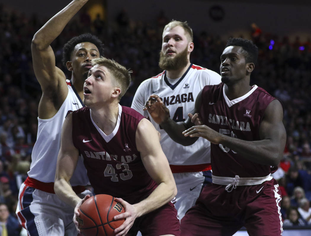 Santa Clara forward Nate Kratch (43) waits for an open shot against Gonzaga during a West Coast Conference basketball tournament game at the Orleans Arena in Las Vegas on Monday, March 6, 2017. Go ...