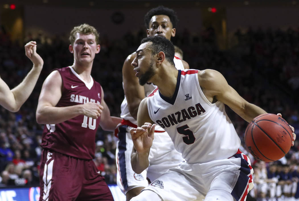Gonzaga guard Nigel Williams-Goss (5) drives to the basket against Santa Clara during a West Coast Conference basketball tournament game at the Orleans Arena in Las Vegas on Monday, March 6, 2017. ...