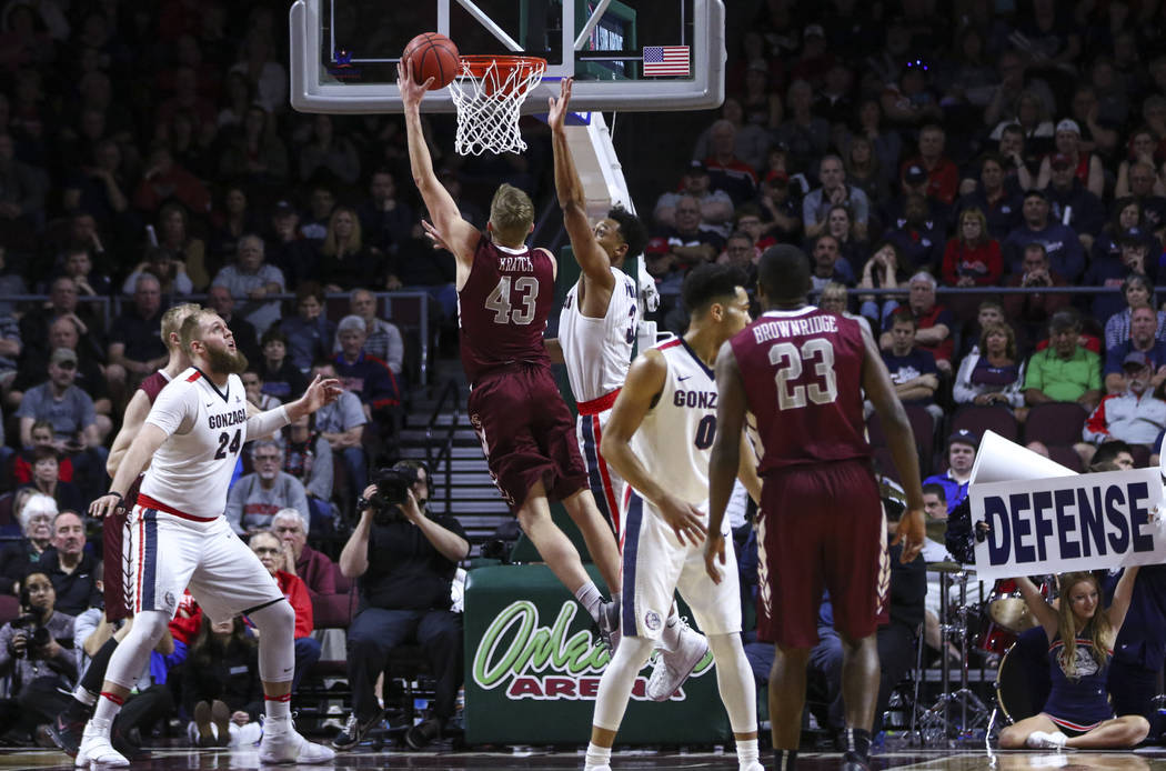 Santa Clara forward Nate Kratch (43) goes up for a shot against Gonzaga during a West Coast Conference basketball tournament game at the Orleans Arena in Las Vegas on Monday, March 6, 2017. (Chase ...