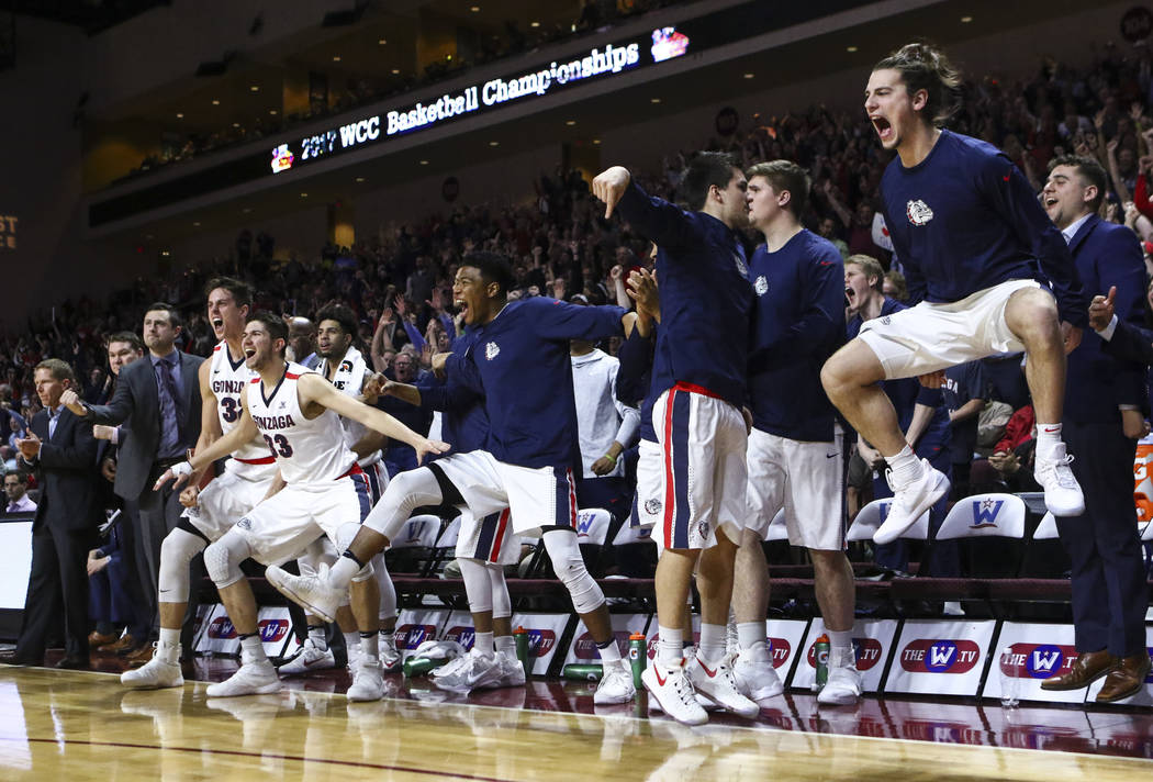 Gonzaga players cheer during the West Coast Conference basketball championship game against St. Mary's at the Orleans Arena in Las Vegas on Tuesday, March 7, 2017. (Chase Stevens/Las Vegas Review- ...